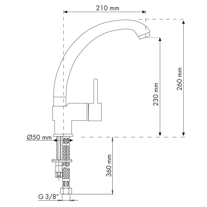 PLADOS EUROMIX Miscelatore monocomando con canna fusa-20