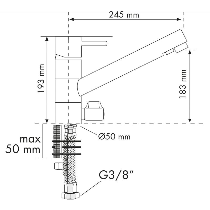 PLADOS FLO30 Miscelatore monocomando a 3 vie con bocca orientabile, con due condotti per erogare acque separate-38