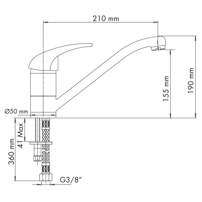 PLADOS QUARMIX Miscelatore monocomando con canna a tubo-0