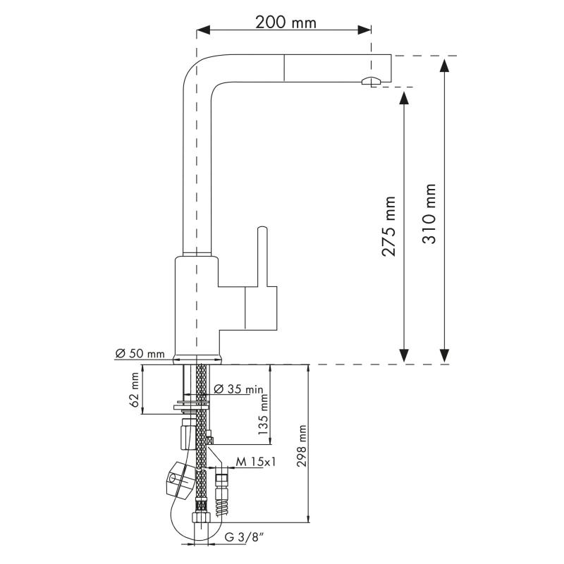 PLADOS VEMIXEXTL Miscelatore monocomando con canna tonda ad L e doccia estraibile-0